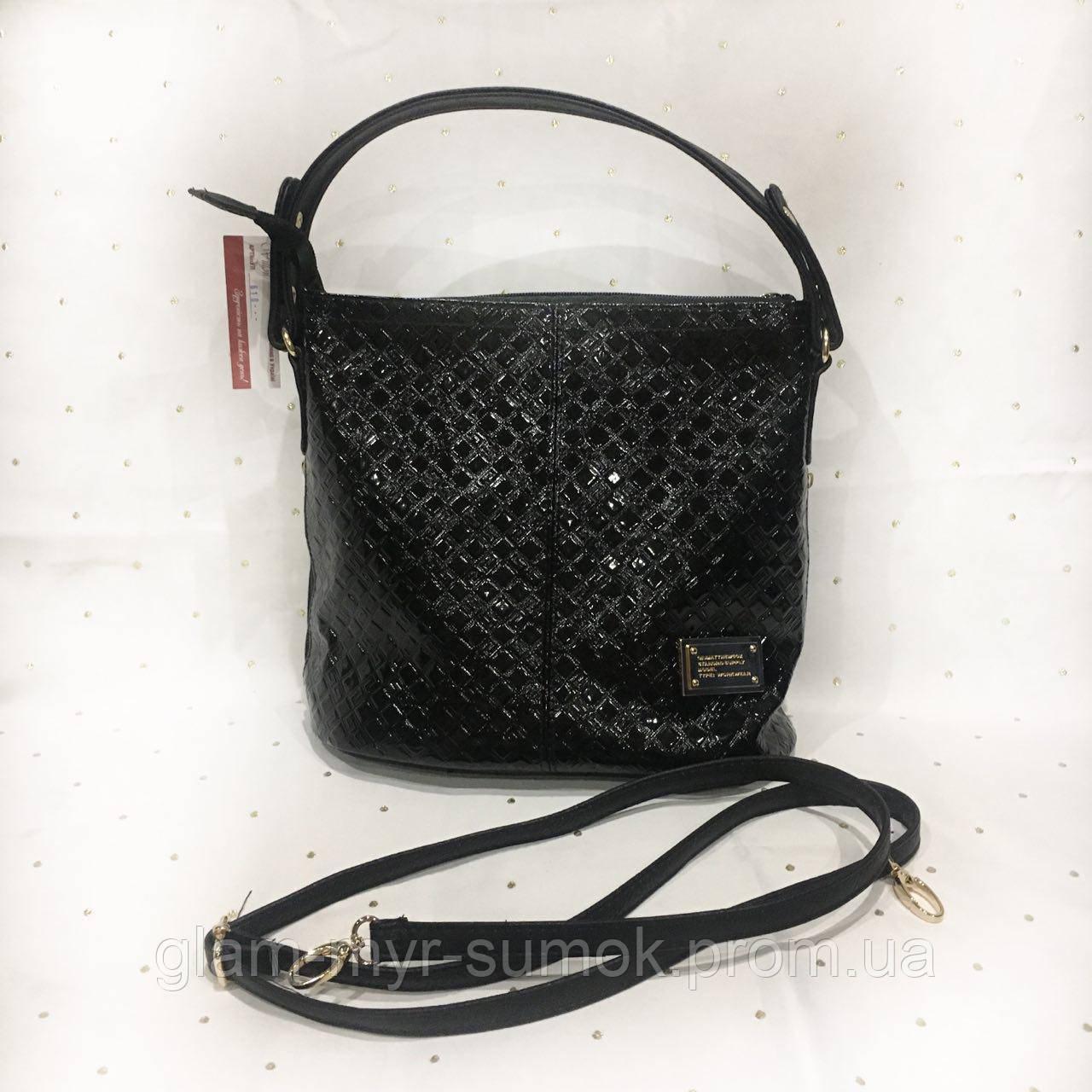 48da20a5 Сумка Женская черная с лаковой отделкой - Интернет-магазин