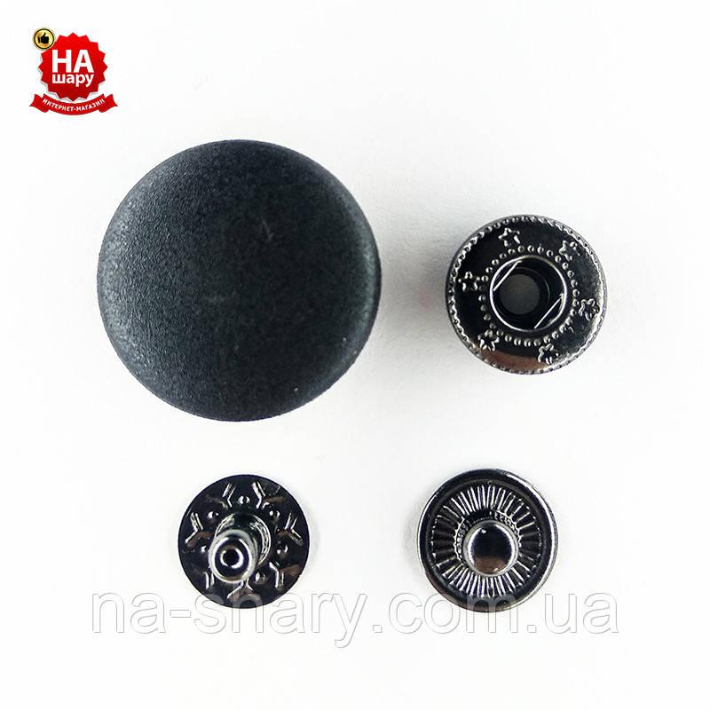 Кнопка для одежды нержавеющая 20мм с пластиковой шляпкой, Гладкая, Черный (1000шт) Китай