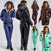 26b3bde4fd25 Женский лыжный спортивный костюм на меху на овчине с капюшоном