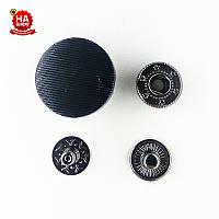 Кнопки для одежды нержавеющие 20мм с пластиковой шляпкой, Черный (1000шт) Китай