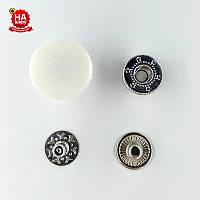Кнопки для одежды нержавеющие 17мм с пластиковой шляпкой, Белый (1000шт) Китай