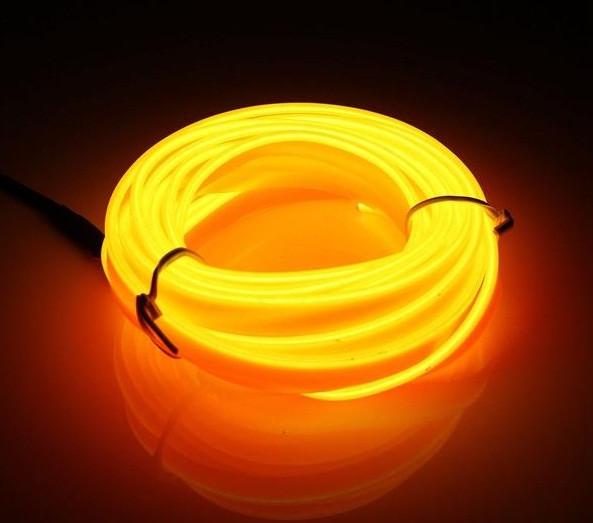 Гибкий светодиодный неон Желтый Neon Glow Light  Yellow - 3 метра ленты на батарейках 2 AA