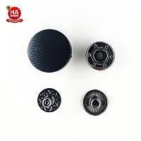 Кнопки для одежды нержавеющие 17мм с пластиковой шляпкой, Черный (1000шт) Китай