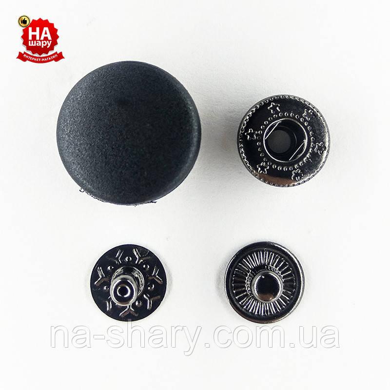 Кнопка для одежды нержавеющая 17мм с пластиковой шляпкой, Гладкая, Черная (1000шт) Китай