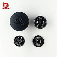Кнопка для одежды нержавеющая 17мм с пластиковой шляпкой, Рисунок, Черный (1000шт) Китай