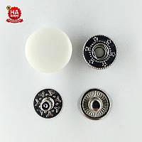 Кнопка для одежды нержавеющая 15мм с пластиковой шляпкой, Гладкая, Белая (1000шт) Китай