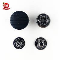 Кнопки для одежды нержавеющие 15мм с пластиковой шляпкой, Черный (1000шт) Китай
