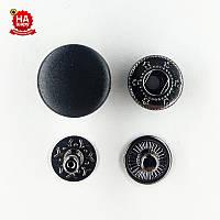 Кнопка для одежды нержавеющая 15мм с пластиковой шляпкой, Гладкая, Черная (1000шт) Китай