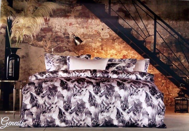 Постельное белье Tivolyo Home GENESIS Gri KRINKLE двуспальный - евро