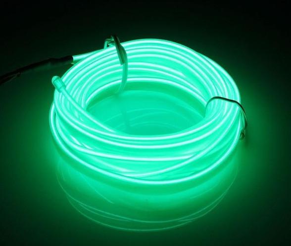 Гибкий светодиодный неон Флуоресцентный зеленый Neon Glow Light Fluorescent - 3 метра ленты на батарейках 2 AA