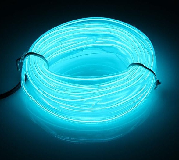 Гибкий светодиодный неон Прозрачный синий Neon Glow Light Transparent Blue - 3 метра ленты на батарейках 2 AA