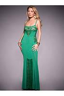Женское платье из мягкого тонкого трикотажного полотна в комбинации с гипюром