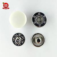 Кнопка для одежды нержавеющая 12.5мм с пластиковой шляпкой, Гладкая, Белая (1000шт) Китай