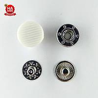 Кнопки для одежды нержавеющие 12.5мм с пластиковой шляпкой, Белый (1000шт) Китай