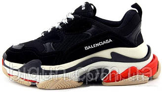 Мужские кроссовки Balenciaga Triple S Black Red (баленсиага трипл с, черные/красные)