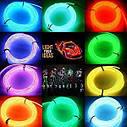Гибкий светодиодный неон LTL Флуоресцентный Neon Glow Light Fluorescent - 3 метра ленты на батарейках 2 AA, фото 5