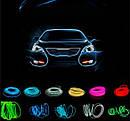 Гибкий светодиодный неон LTL Прозрачный синий Neon Glow Light Transparent - 3 метра ленты,  на батарейках 2 AA, фото 8