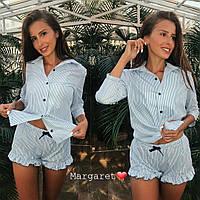 Пижама женская модная рубашка в полоску  из хлопка на пуговицах и мини шорты с оборками KXmk07, фото 1