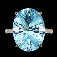 Серебряное кольцо натуральный голубой топаз. Размер 15,5, фото 1