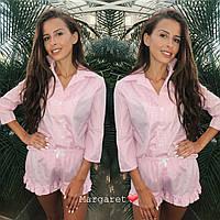 Піжама жіноча модна сорочка в клітку з бавовни на гудзиках і міні шорти з оборками KXmk08