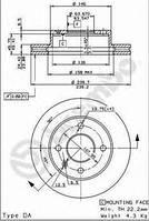 Тормозной диск передний  Форд Эскорт 81/ Эскорт 86/ Эскорт/ ЭскортV/ Орион/ Сиера (пр-во BREMBO 09.4914.34)