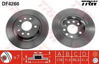 Тормозной диск задний  CHEVROLET, Фиат, Опель, Сааб (пр-во TRW DF4266)