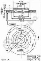 Тормозной диск передний  Ниссан, Рено, Дачия (пр-во BREMBO 09.5802.24)