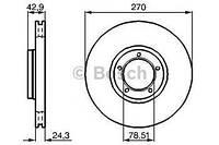 Тормозной диск передний Ford Transit, Форд Транзит/ Транзит TOURNEO (пр-во BOSCH 0986478166)