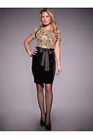 Платье комбинированное: из черного велюра и золотого гипюра.