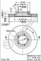 Тормозной диск передний Ford Transit, Форд Транзит/ Транзит TOURNEO (пр-во BREMBO 09.6967.14)