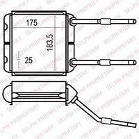 Радиатор печки (отопителя)  Опель Астра F CLASSIC/ CALIBRA A/ Вектра A (пр-во Delphi TSP0525535)