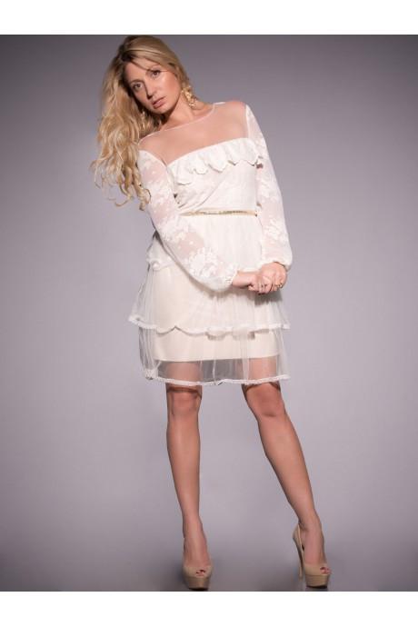 264028554ec Платье из кружевного полотна и евросетки молочного цвета. -  Интернет-магазин