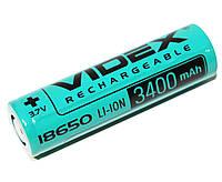 Аккумулятор 18650, 3400 mAh, Videx, 1 шт, Li-ion, перезаряжаемая батарейка