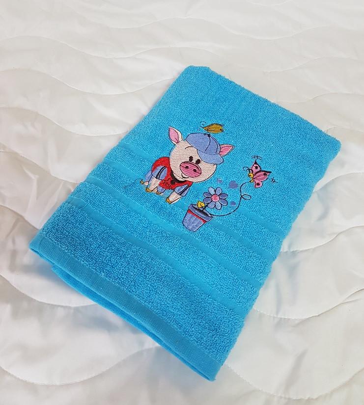 Хлопковое полотенце - голубое 70х140