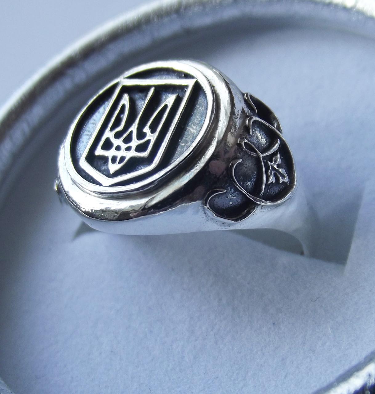 Кольцо унисекс серебряное Герб Украины