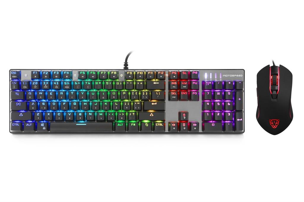 Комплект (клавиатура, мышь) Motospeed CK888 Outemu Blue Silver/Black USB