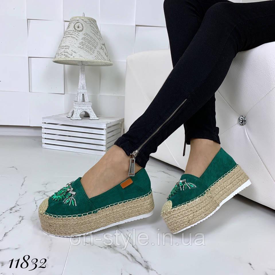 26eb8326 Женские замшевые зеленые эспадрильи с декором на плетеной подошве, фото 1