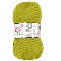 Зимняя пряжа Lanoso Sera 912 100% шерсть оливковая