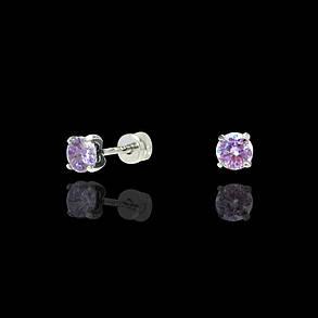 Срібні сережки-пуссети з камінням, фото 2