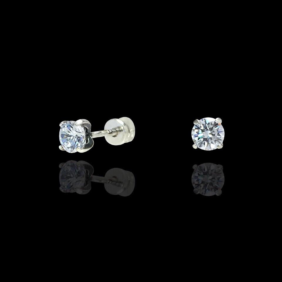 Срібні сережки-пуссети з камінням