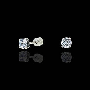 Серебряные серьги-пусеты с камнями, фото 2