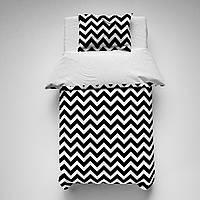 """Сменное детское постельное белье в кроватку 120*60 двухцветное""""Черный зиг-заг"""""""