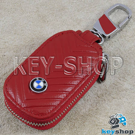 Ключница карманная (кожаная, красная, с тиснением, с карабином, с кольцом), логотип авто BMW (БМВ), фото 2