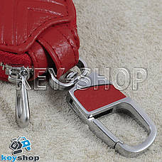 Ключниця кишенькова (шкіряна, червона, з тисненням, з карабіном, кільцем), логотип авто BMW (БМВ), фото 2