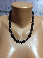 Модное красивое ожерелье из натурального камня, черный агат.