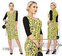 Платье-футляр миди из креп дайвинга с леопардовым принтом и глубоким декольте 11987