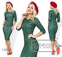 Платье-футляр из креп дайвинга с леопардовым принтом, рукавми 3/4 и разрезом сзади 11993