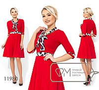Платье до колена с юбкой полу-солнце, не съемным контрастным галстуком и вставкой на талии 11980