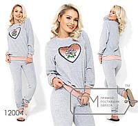 """Домашний велюровый костюм и нашивкой """"сердце"""" из пайеток, брюки на резинке с манжетами 12004"""