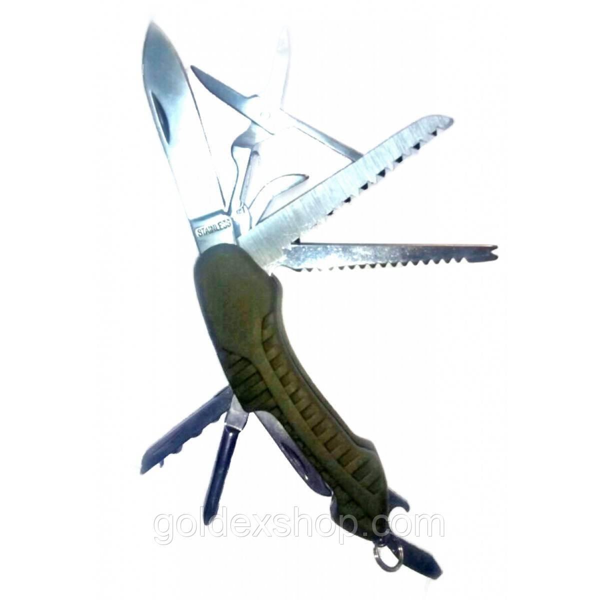Нож складной с набором инструментов зеленый (11 в 1)